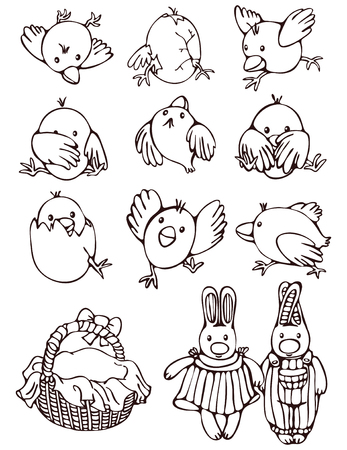 Set of cartoon for Easter holiday. Stock Vector - 8725432