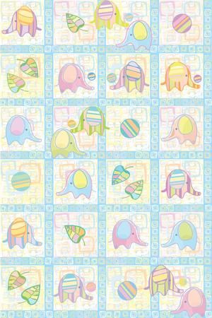 tender: Seamless cute pattern of baby elephants.