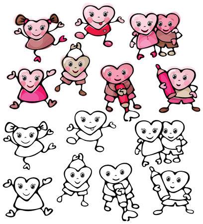 baile caricatura: Colecci�n de corazones de dibujos animados.