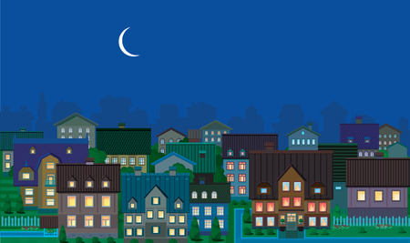 Townhouses, night. Vector