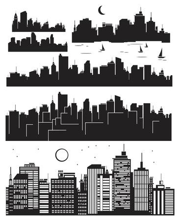 capitel: Conjunto de silueta de ciudades Vectores
