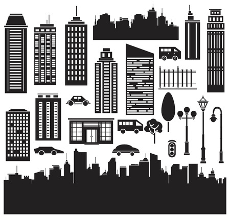 city skyline night: Vector   silhouettes for citys design