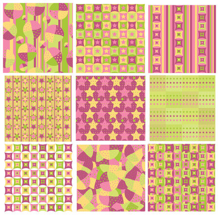 Seamless bright patterns.   Vector