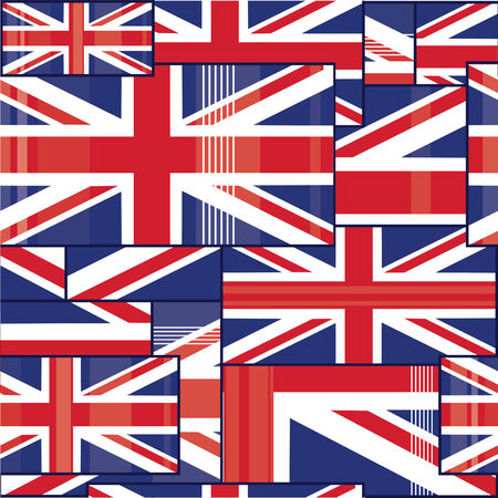 british culture: Seamless pattern of british flag. Illustration