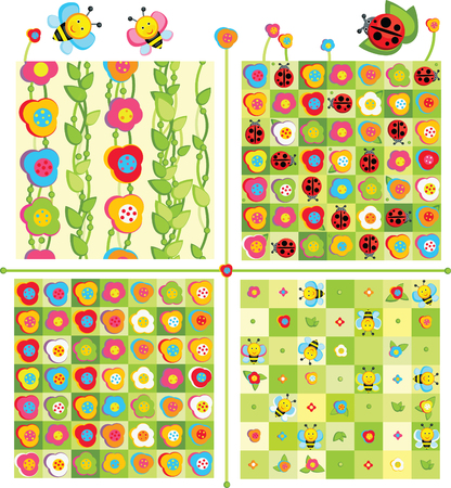 Seamless cute patterns for spring or summer  design. Vector
