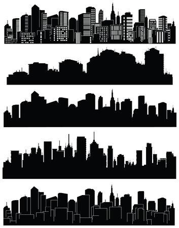 city: Conjunto de silueta de ciudades Vectores