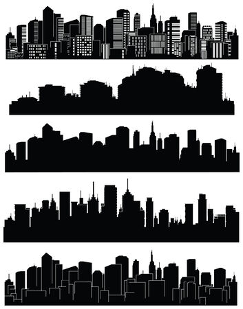 city skyline night: Set of cities silhouette Illustration