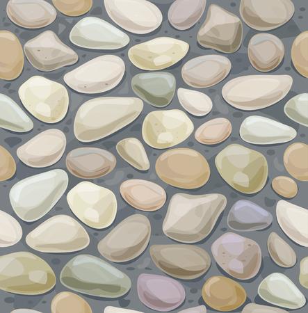 stone floor: Seamless texture of pebble stonewall. Illustration