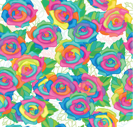 blooms: Seamless pattern of colourful roses. Illustration