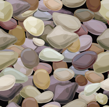Seamless texture of   colourful pebble stones. Vector