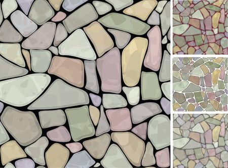 rubble: Textura transparente de stonewall en diferentes colores. Vectores