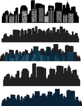 городской пейзаж: Набор векторных силуэт города