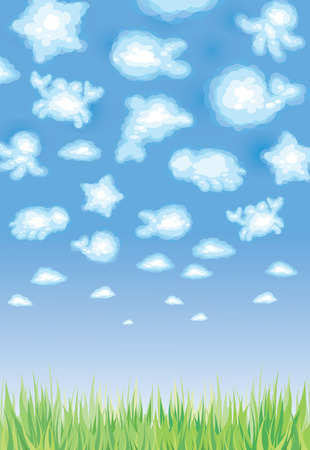 Cute background, funny toy clouds, sealife. Stock Vector - 9098706