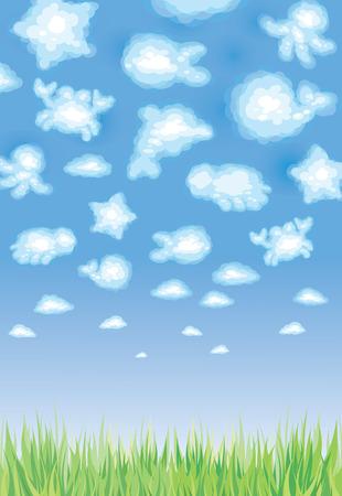 sealife: Cute Hintergrund, lustiges Spielzeug Wolken, Sealife. Illustration
