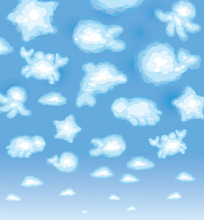 Cute background, funny toy clouds, sealife.  Vector