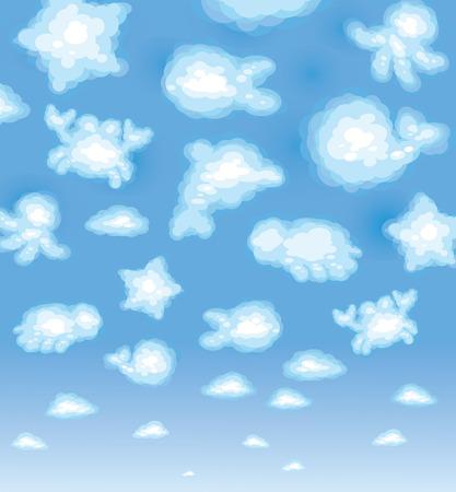 animalitos tiernos: Fondo lindo, nubes de juguete divertido, vida marina.  Vectores