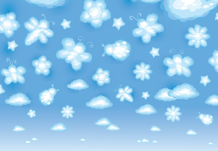 Cute background, funny toy clouds, insects and flowers. Vector
