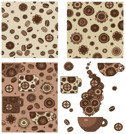 coffe: Seamless patterns and elements for coffees design. Illustration