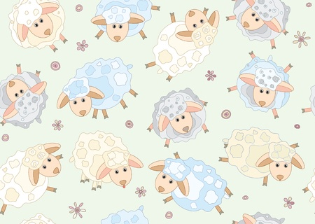 Seamless pattern of cute sheep Stock Vector - 9168233