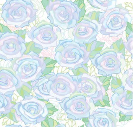 Seamless pattern of white roses.  Vector