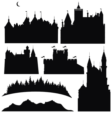 castle tower: Silhouettes of  castles  and elements for design.
