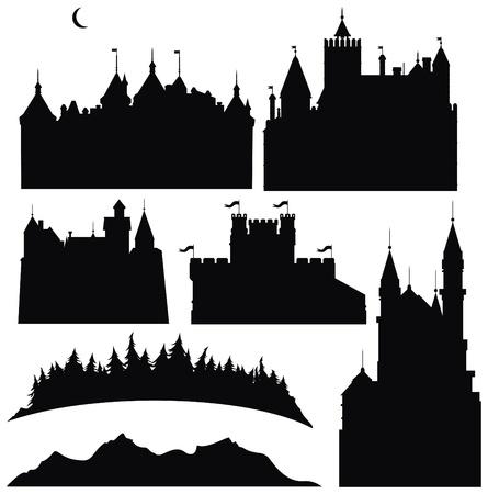 Siluetas de castillos y elementos de diseño.