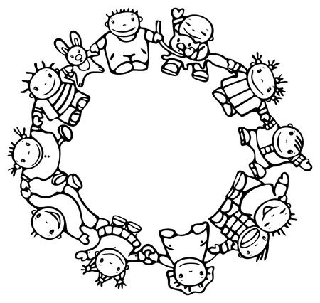 Circle of happy children different races  Vector