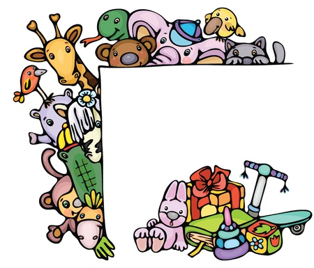 Cute animals stand by blank and toys. Vector