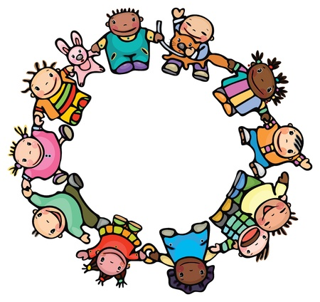 ni�os de diferentes razas: C�rculo de diferentes razas de ni�os felices. Vectores