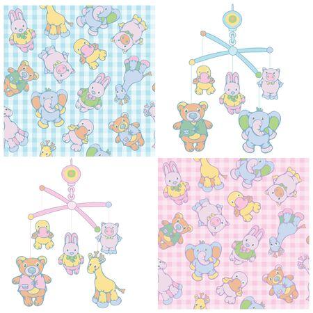 Seamless pattern and mobile for baby boy and girl design. Vektoros illusztráció