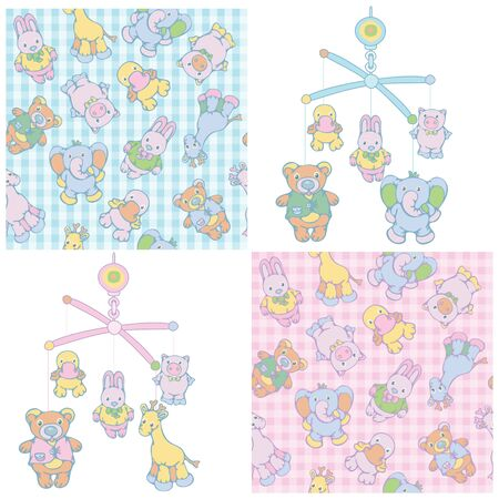 Seamless pattern and mobile for baby  boy and girl design. Vector