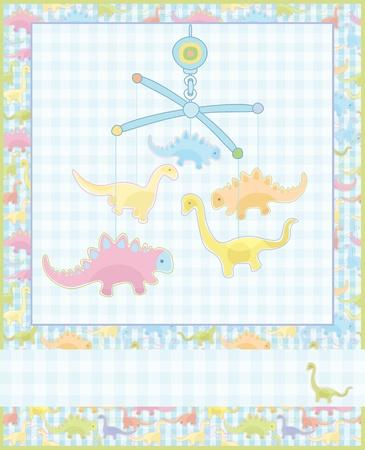 Card for baby boy. Vector
