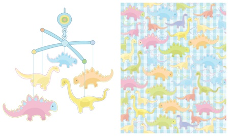 Seamless pattern and mobile for baby boy design  Vector