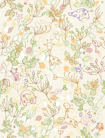 Seamless floral pattern for kids design.  Illustration