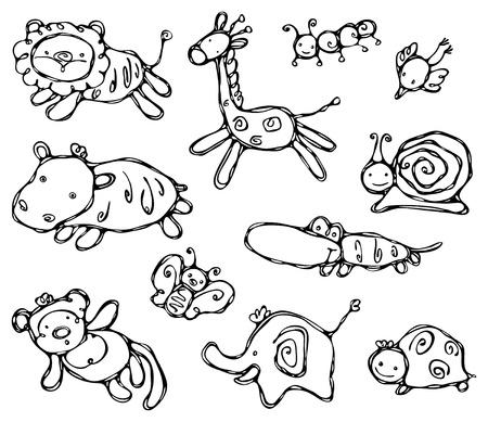 silueta mono: Siluetas de animales lindos. Vectores
