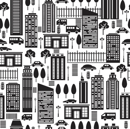 Seamless pattern of city. Vector