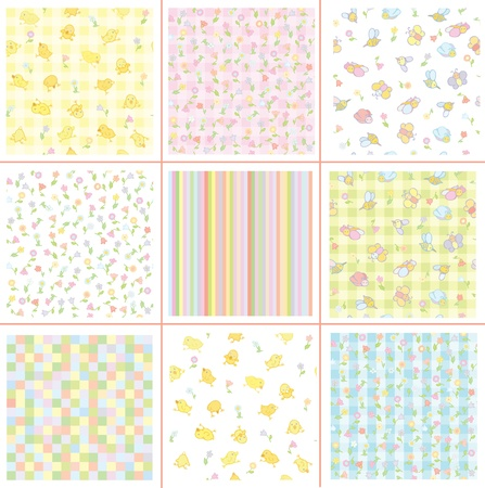 Cute patterns for your design, flora and birds. Vector