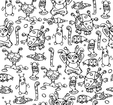 Seamless pattern of little monsters. Vector