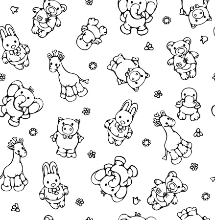 Seamless pattern of cute animals. Vector