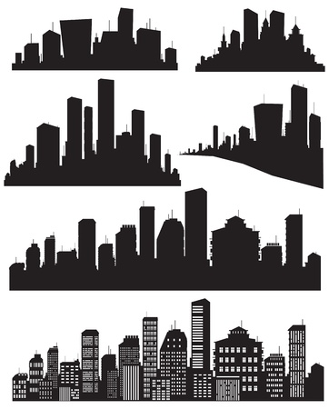 city skyline night: Set of vector cities silhouette Illustration