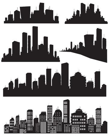 Set of vector cities silhouette Çizim