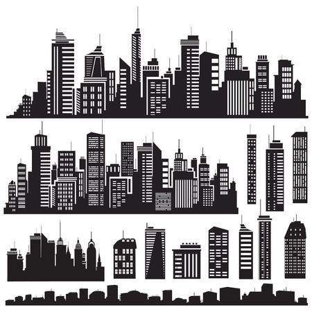 in city: Conjunto de vectores ciudades silueta y elementos de diseño. Vectores