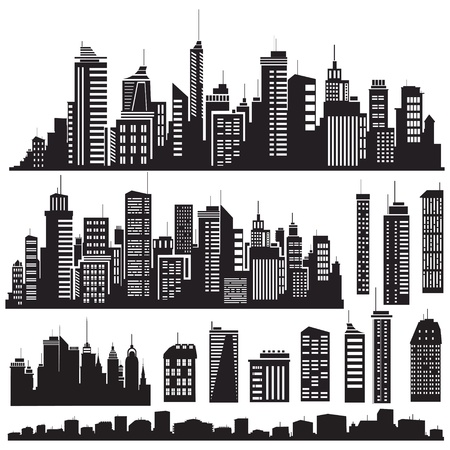 Set of vector cities silhouette and elements for design. Çizim