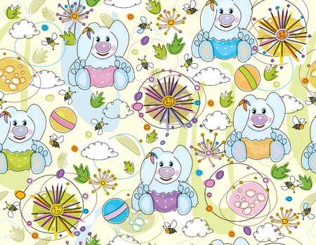 Cute seamless   pattern of flora and rabbits. Vector