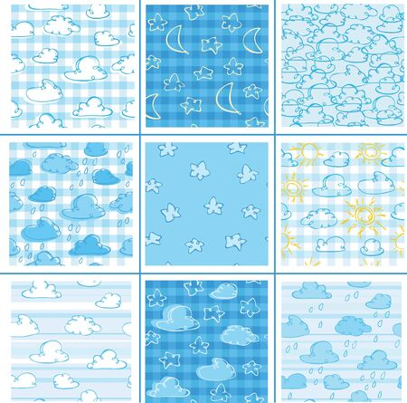 Set of cute patterns  for weather's design. Stock Vector - 9490501
