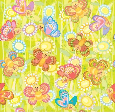 Seamless cute pattern of butterflies  Vector