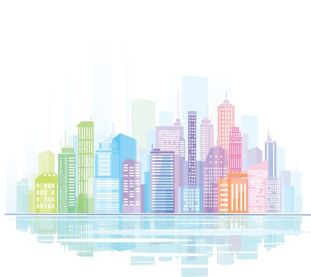Colorful panorama of city. Illustration