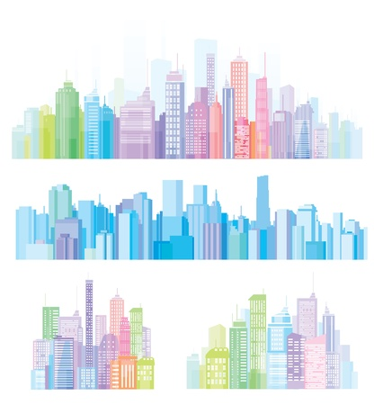 Colorful panorama of cities.
