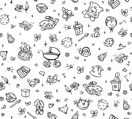 Seamless cute pattern of baby stuff.  Vector