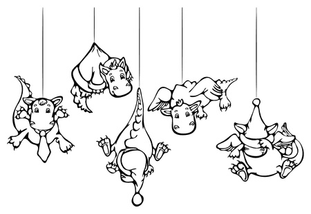 Cute dragons hang , for Christmas design.  Vector